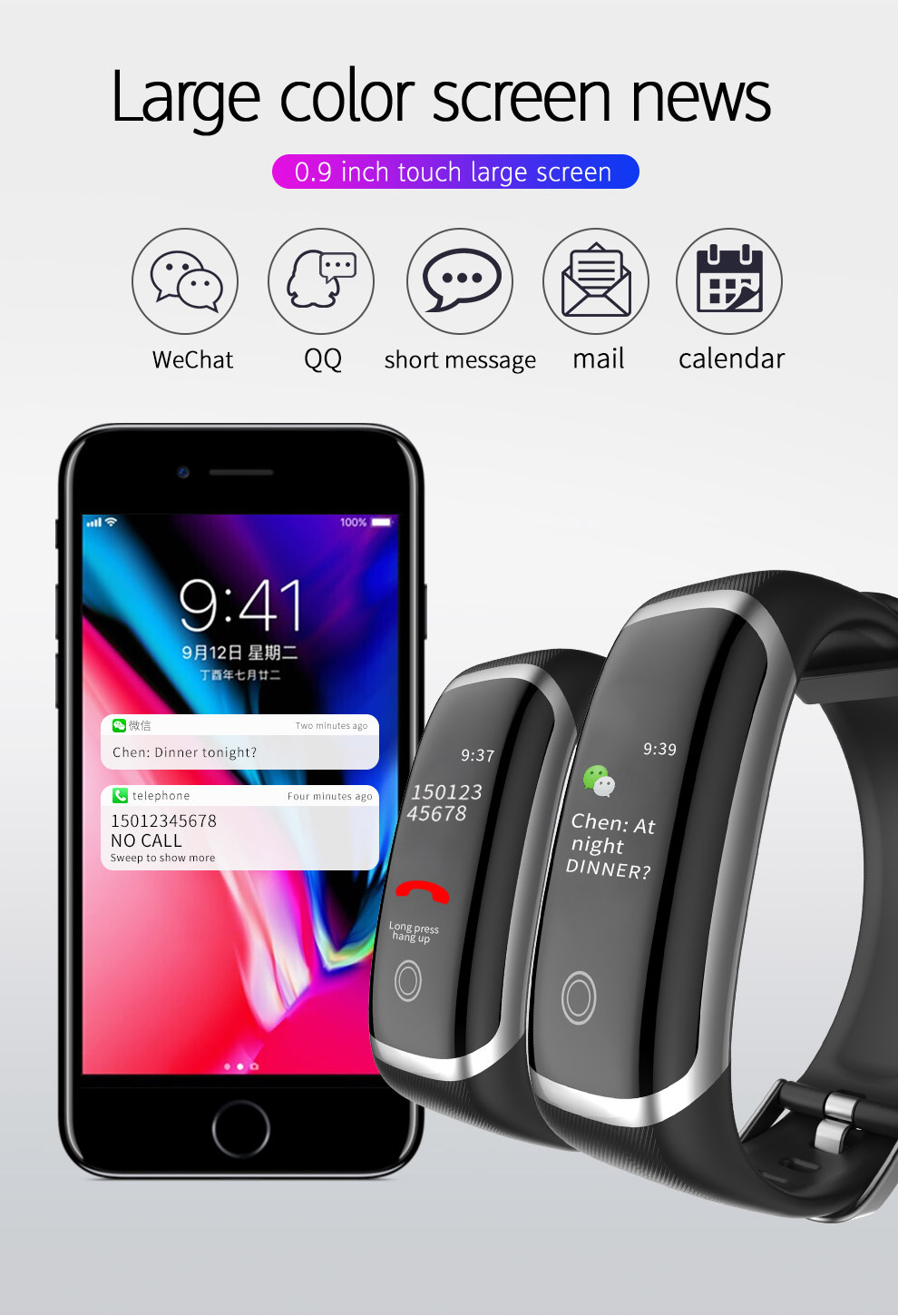 2019 new arrival  mi band 4 m4 smart sport band lefun health silicone watch band