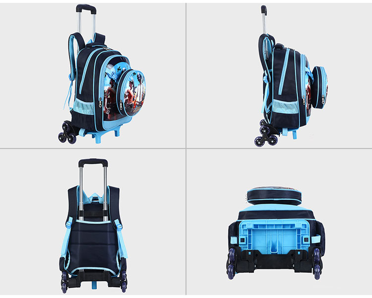 New boy backpack wheeled school bags detachable kids trolley bags