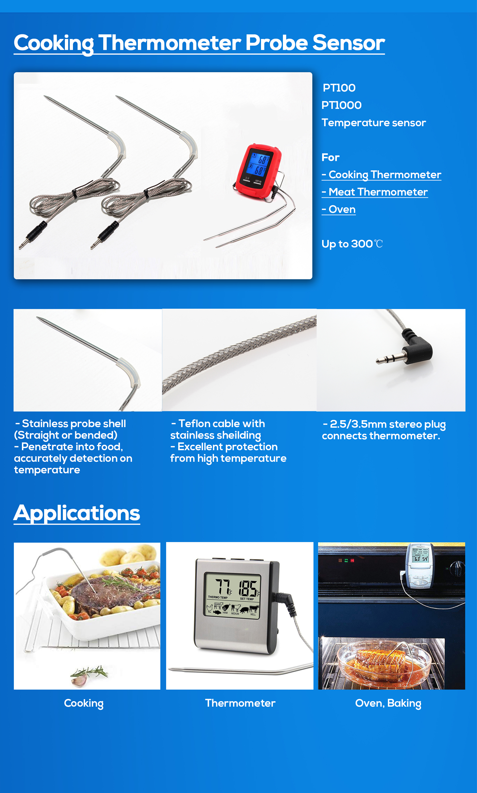 In-oven Thermometer Dual Probe Food Meat BBQ thermometer