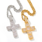 Gold Square Pendant Wholesale Iced Out 18k Gold Plated Bling Square Zircon Diamond Cross Pendant Necklace For Men Hips Hops
