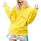Plain Yellow Special Pocket Design Winter Fall Casual Clothing Sweatshirt Oversized Pullover Hoodies for Women