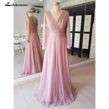 2020 пыльная роза дешевые скромные платья для матери невесты с длинным рукавом платье для выпускного вечера vestido de madrinha(Китай)