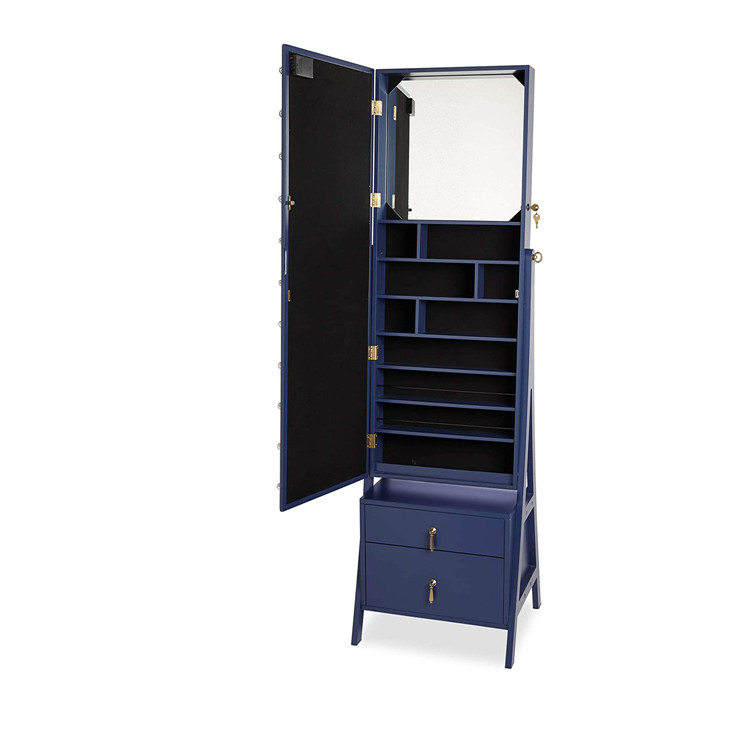 New Fashion Wooden Lockable Jewelry Cabinet With Drawer