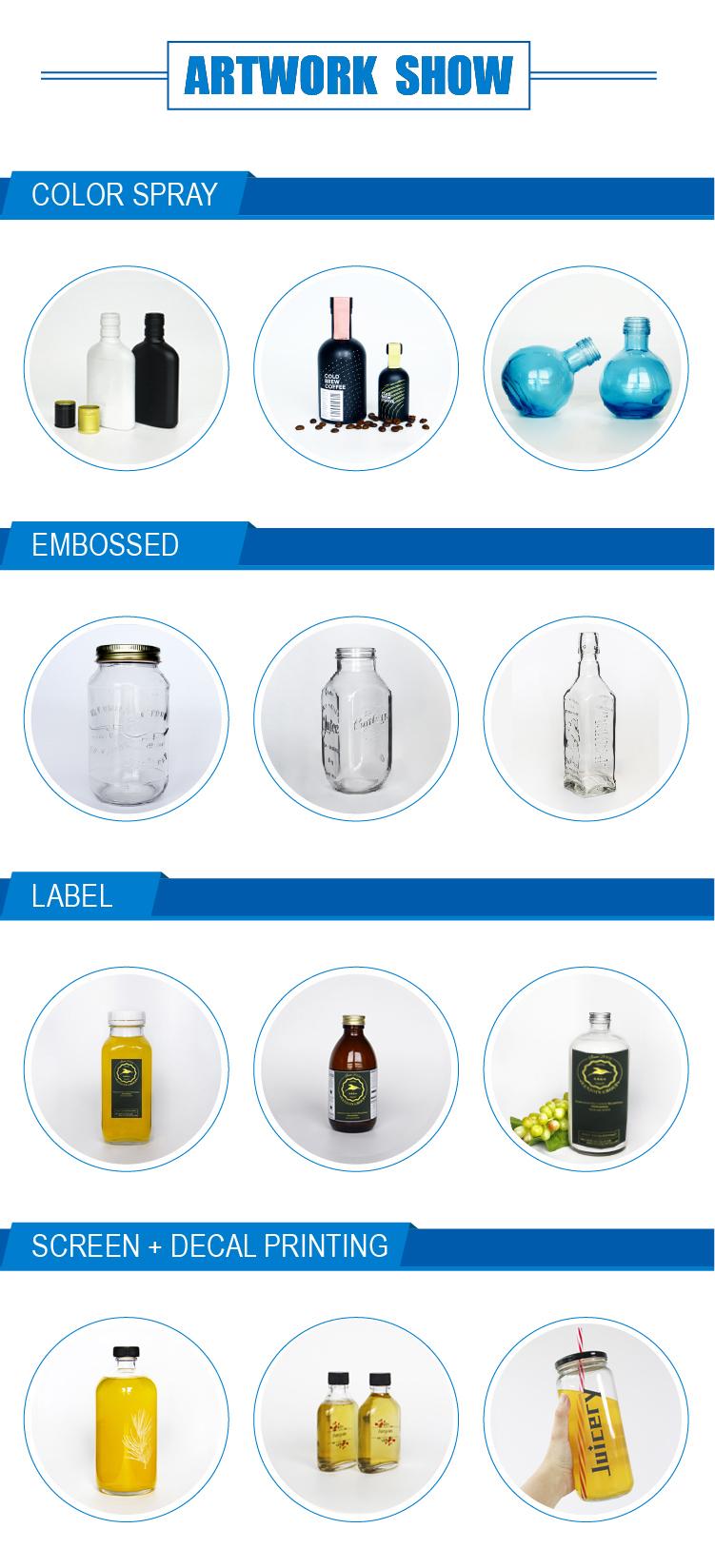 High Quality Cute Shape 500ml 750ml Clear Wine Spirit Glass Bottle alcoholic Drinks Packaging with corkVodak Bottles