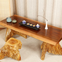 Chinese Outdoor Large Wooden Carved Root Carving Tea Table