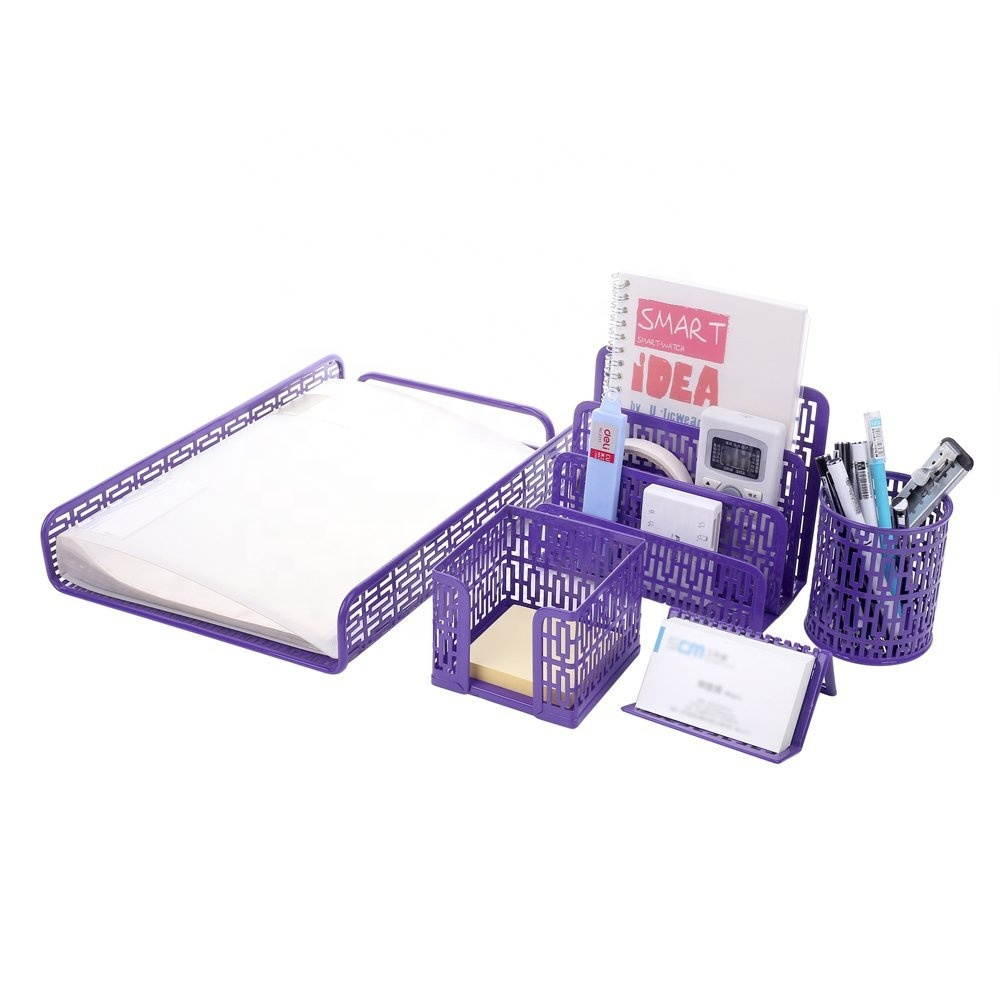 top amazon 2018 office school kids gift 5 pcs metal mesh punched stationery set for desk organizer and home office working