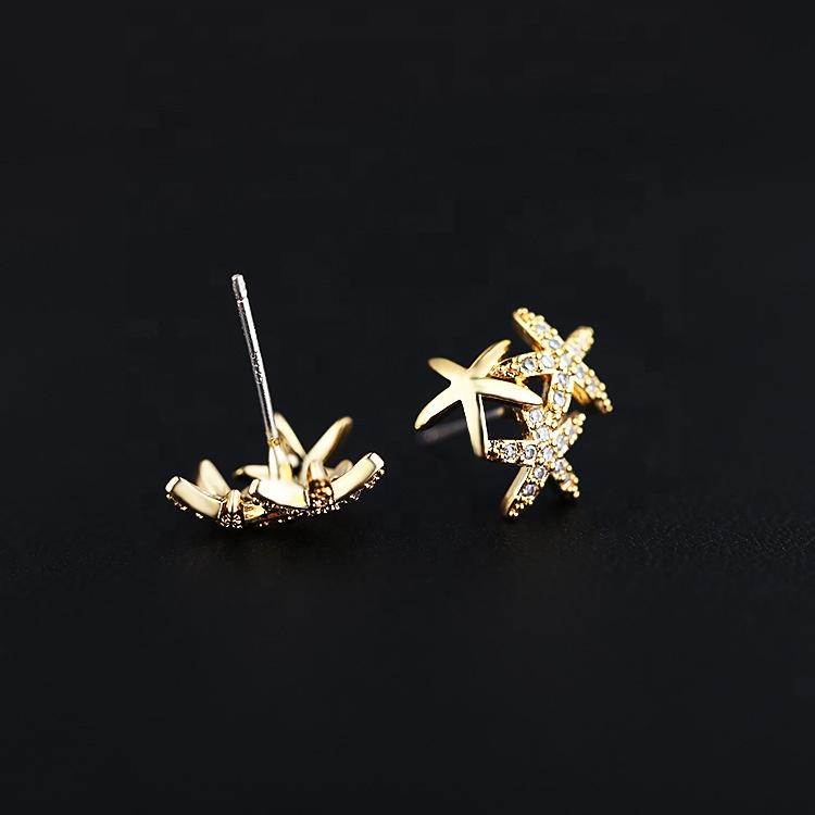 Adorável CZ Micro Pavimentadas Zircon Estrela Flor Forma Do Parafuso Prisioneiro Brinco