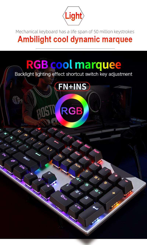 Life Waterproof FV-Q302 104 keys USB Weird RGB Game cheap real mechanical keyboard for Gaming