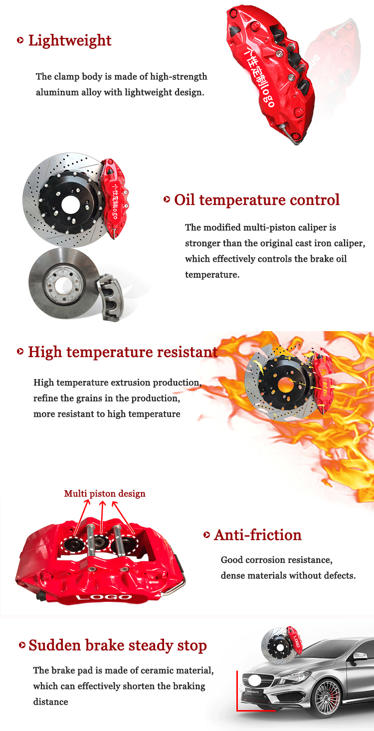 Высокая температура нагрева тормозной суппорт Набор для рисования системы большой 4 пистона 6 поршни b: один комплект брембо с Чехлы тормозные суппорты