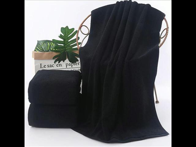 Factory custom logo black cotton towel custom embroidery logo black hand towel new arrivals black cotton face hand bath towel
