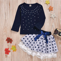 kid clothes cotton long sleeve top+ dot skirt 2pcs cute Little Girl Outfits fashion children clothing