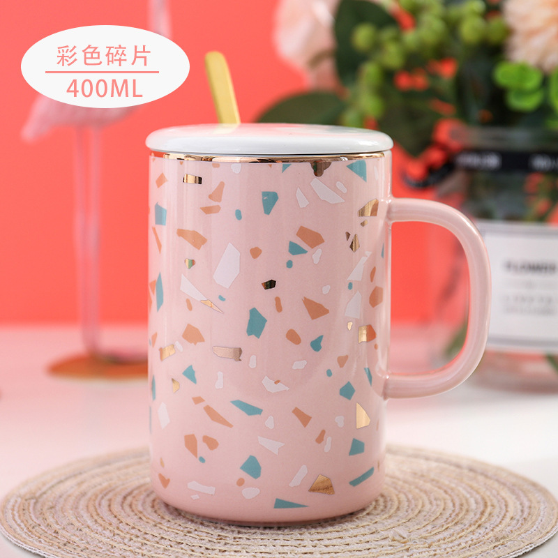 Feiyou wholesale new Korean style girls personalized golden eagle painting ceramic printed mugs ceramic mug with spoon in handle