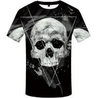 Skull T-shirt for men 3D digital printed round neck casual short sleeves
