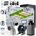 "LED 100W Full-Spectrum Grow Light+24""X24""X48""Indoor Grow Tent+4"" Carbon Filter Exhaust Inline Fan Kit for Hydroponic Plant Grow"