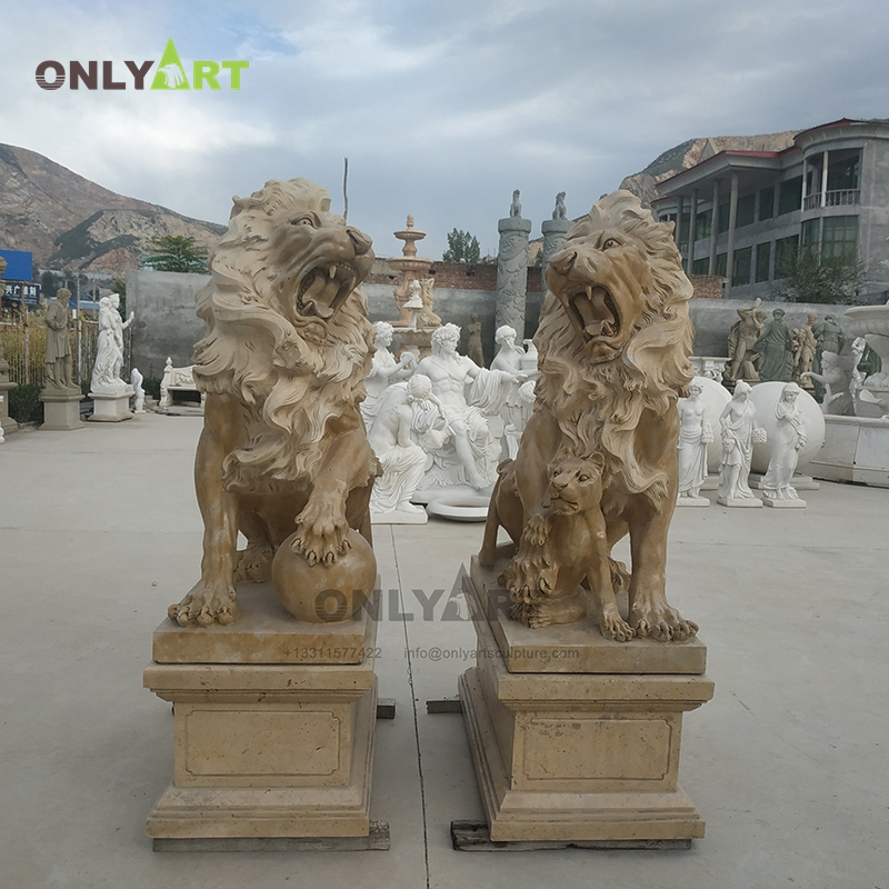 Garden art craft large outdoor stone famous animal lion statue