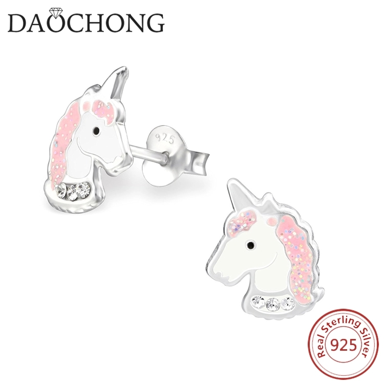 Girls Unicorn Colorful Ear Studs 925 Sterling Silver