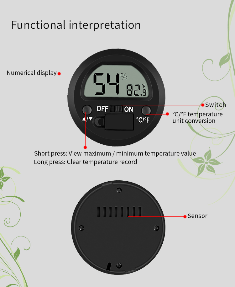 Digital mini Instant Read  Thermometer  Hygrometer