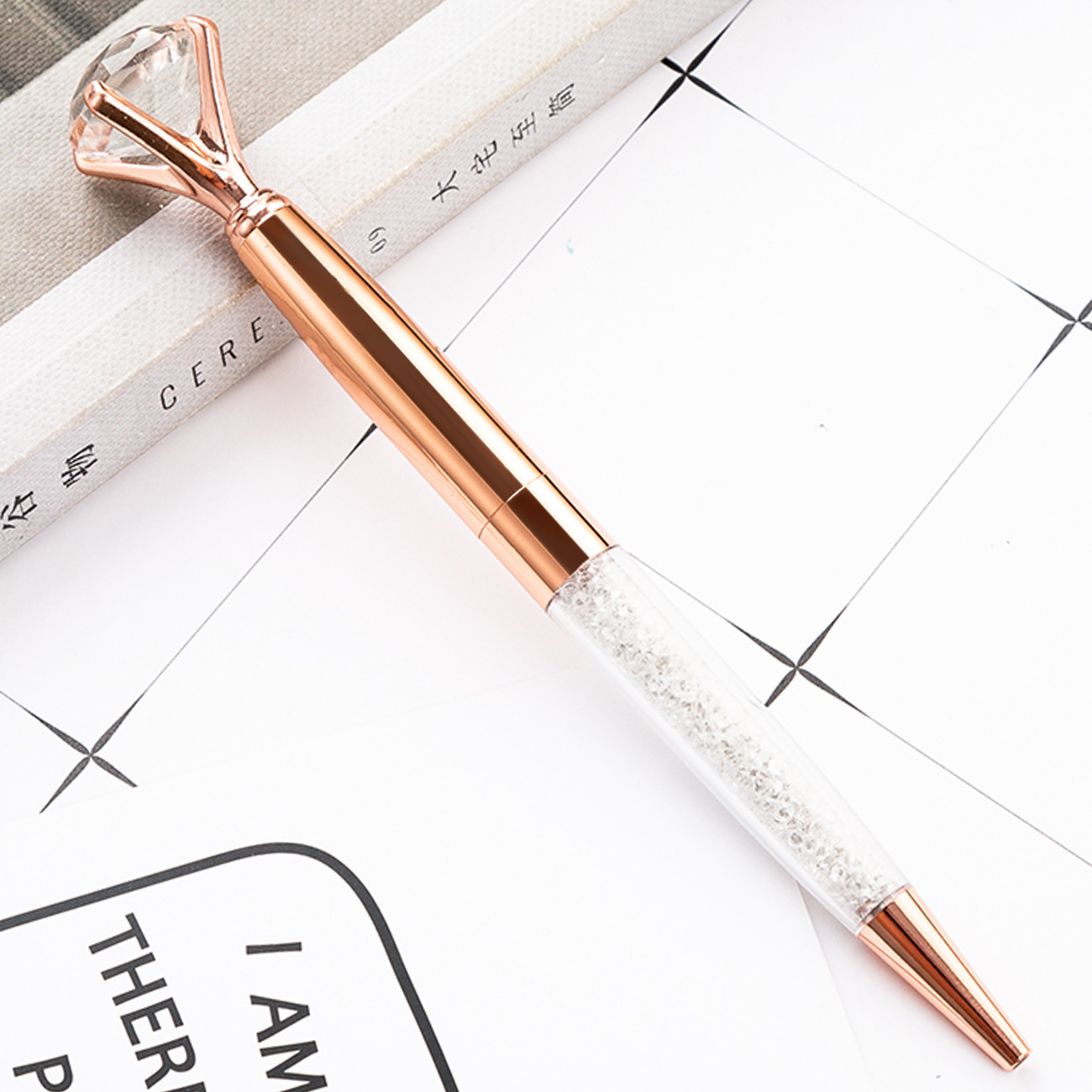 New DIY 19 carat luxury big huge diamond rotating metal pen custom Logo crystal decorative gift decorated ballpoint pens