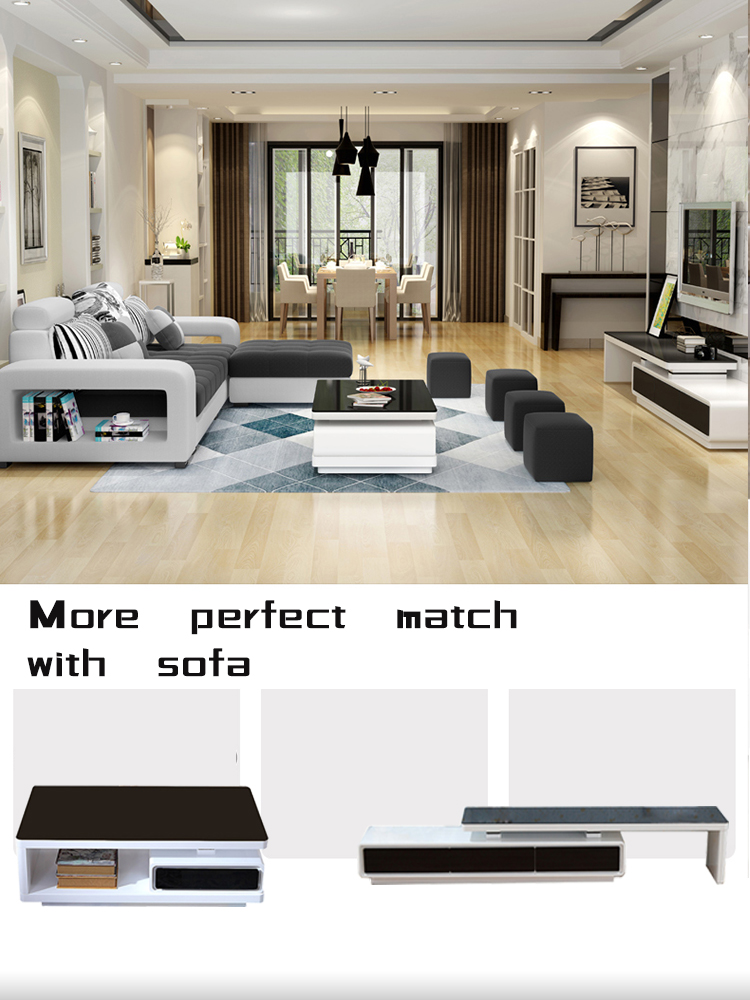 Modern design livingroom furniture black glass top coffee table