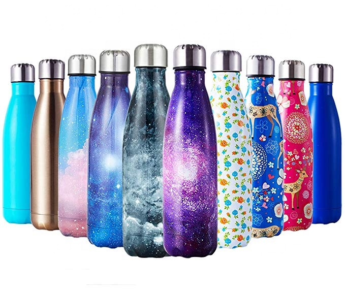 Ramah Lingkungan Dapat Digunakan Kembali Kustom Colorful Vacuum Insulated Flask Double Wall Stainless Steel Cola Membentuk Minum Olahraga Air Botol