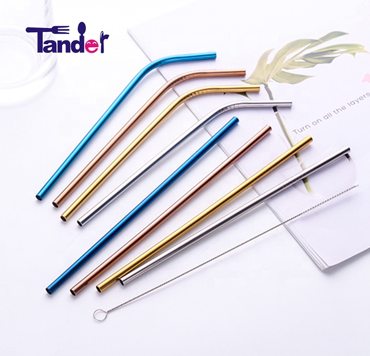 eco friendly drinking 304 stainless steel inox straw with cleaning brush