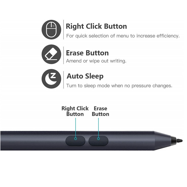 MoKo Universal Aluminum Active Stylus with 1024 Pressure Sensitivity for Microsoft Surface Pen for Surface Pro 3/4/5/6/Go
