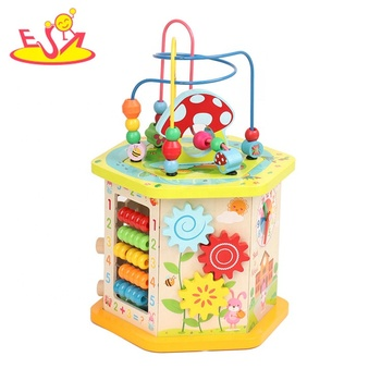 New arrival educational wooden discover activity cube for kids W11B237