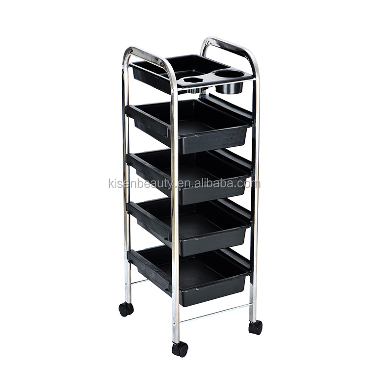 Wholesale New Barber Salon Cart Black Rolling Trolley Trolley Cart Beauty Salon Hairdressing Salon Trolleys