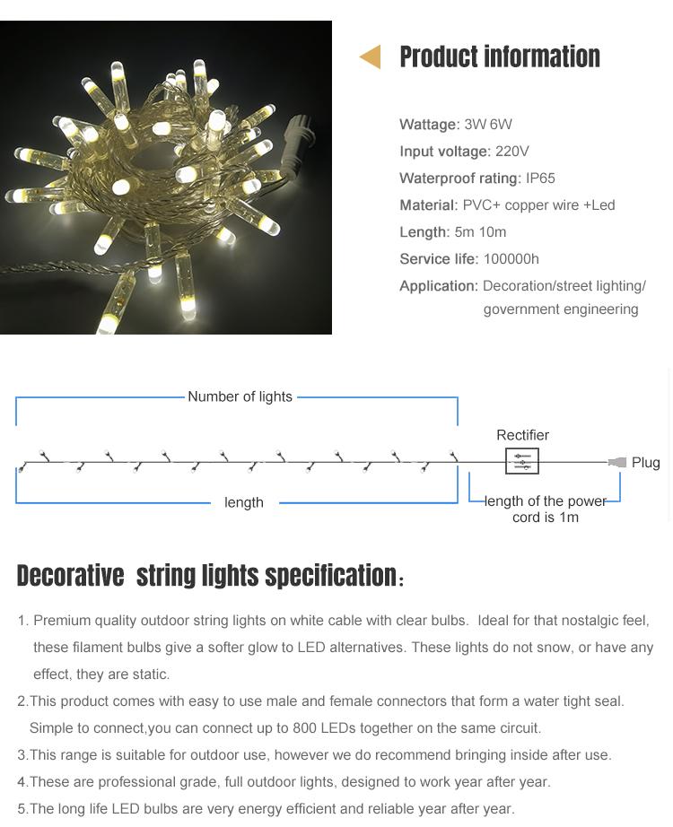 Energy saving Outdoor IP65 LED String Decoration Holiday New Year Christmas Lighting