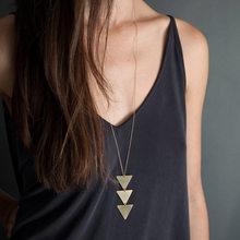 Простая треугольная Подвеска для ожерелья, серебряная цепь, металлический длинный чокер, эффектные ожерелья, женские вечерние аксессуары(Китай)