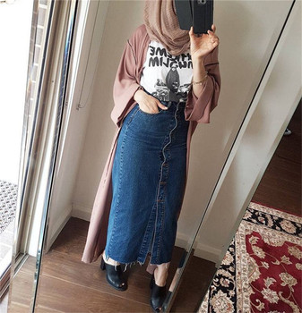2019 fashion beautiful long pencil skirts jeans materials muslim women casual daily wear half style jean skirts