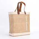 Custom Reusable Large Shopping Tote Jute Bag With Leather Handles