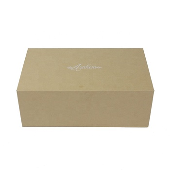 Free dieline design paper rigid gift box Chinese customized brown printing box with magnetic coated with kraft paper
