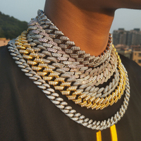 Miss jewelry Bling new fashion men's Rap 18mm Gold Plated Pave Crystal Stainless Steel cz chain necklace