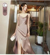 Длинное атласное платье подружки невесты 2020, сексуальное свадебное платье с v-образным вырезом и разрезом сбоку, вечерние платья для выпуск...(China)
