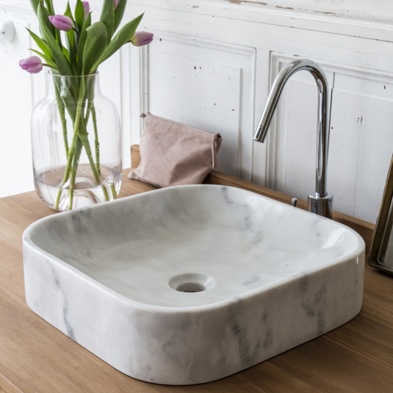 Polished Small Carrara White Marble Bathroom Mop Sink Carrara Marble Stone Basin