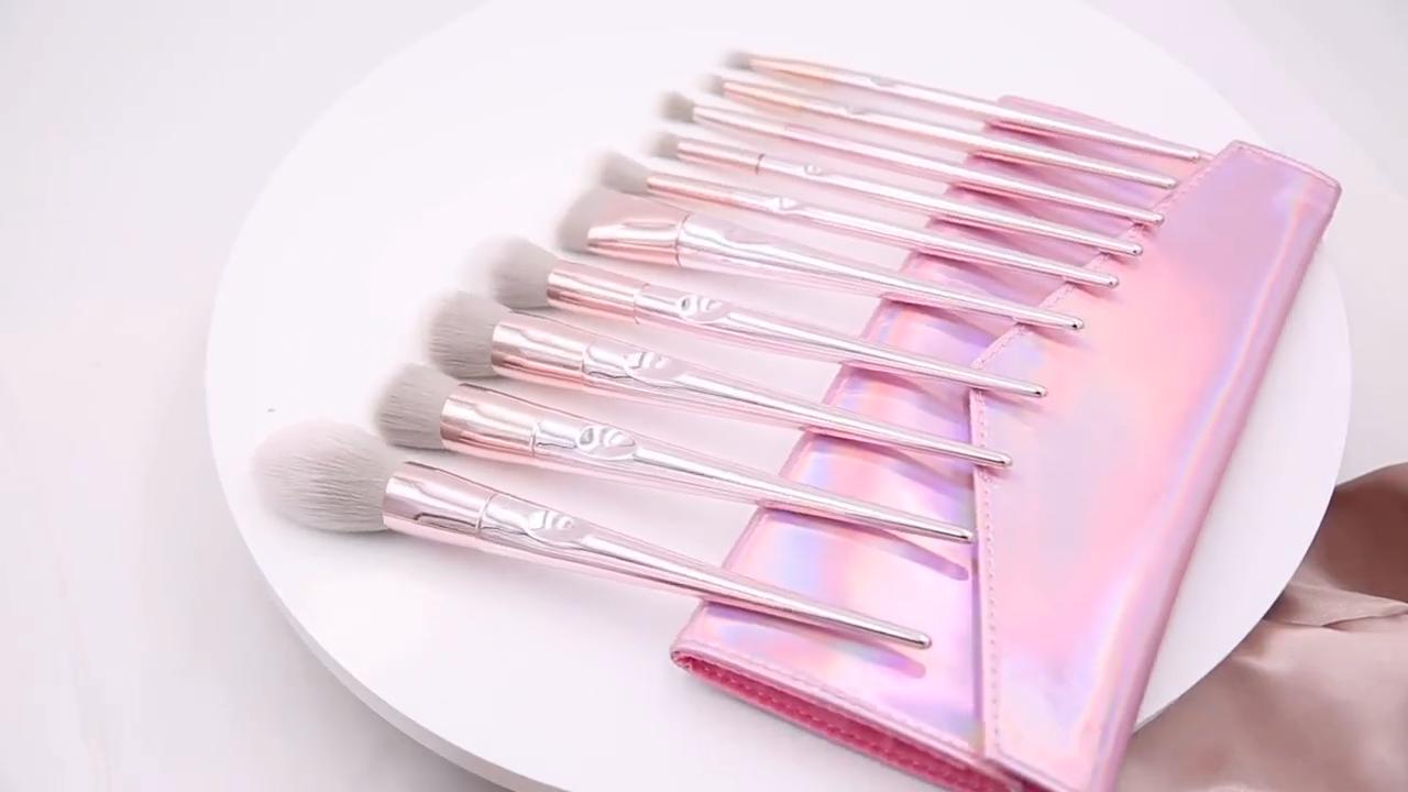 Fashion Cosmetic Cheap Buy Natural Goat Hair Kabuki Face Blush Rose Gold Makeup Brush Set