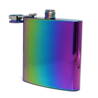 Colorful 6oz 180ML Stainless Steel Hip Flask Multifunctional Liquor Flask Wine Pot Rainbow Color Vacuum Plated Hip Flask 6 oz