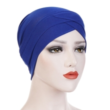 Simple Style Plaine Tube Tête Chapeau Musulman Arabe Confort Stretch Tissu Front Croix Chapeau Indien Kopftuch <span class=keywords><strong>Foulard</strong></span>