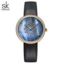 Shengke часы женские модные повседневные 30 м водонепроницаемые кварцевые Qatches кожаный ремешок спортивные женские элегантные наручные часы для...(China)