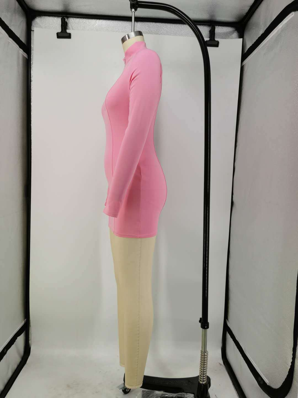 FOMA-X9257 season autumn items solid v-neck bodycon women stylish sexy dress 2020