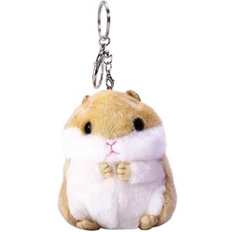 Customized Brown Stuffed Animals Charm Handbag Bag Purse Pendant Hamster Plush Keychain