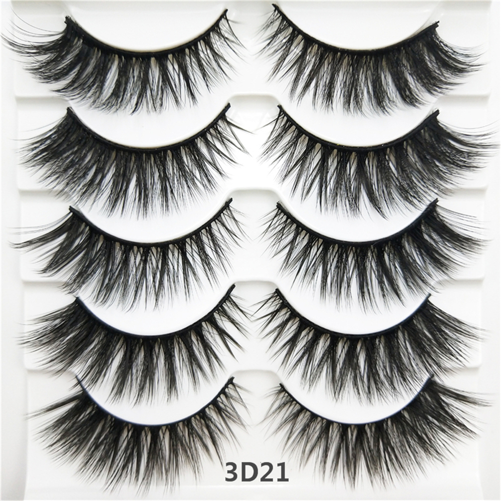 Abestyou 5 Pairs 12-25MM Best silk faux mink strip fake eyelashes 3D false eye lashes wholesale