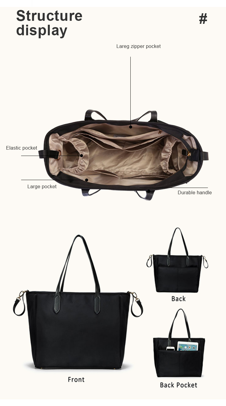 Water-proof Large Tote Diaper Bag with Changing Pad for Baby