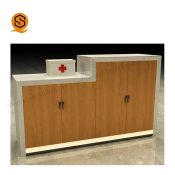 Custom Made Gloss White Marble Dental Clinic Reception Desk Hospital Information Counter Front Desk