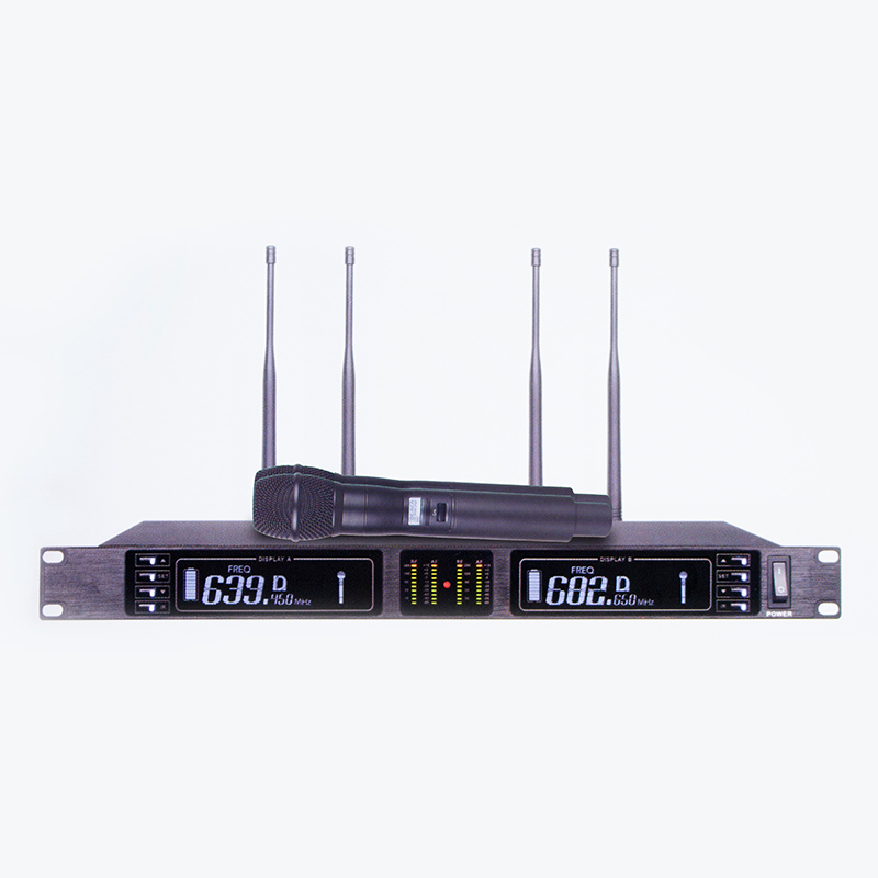 थोक व्यापारी पेशेवर सच विविधता दोहरी चैनल के लिए गतिशील UHF वायरलेस माइक्रोफोन कराओके पार्टी चर्च में शादी
