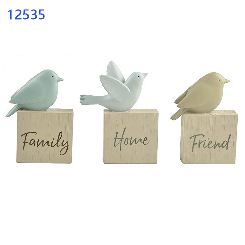 Resin Animal 3 Bird Plant Stakes Faith/ Love/Hope Figurines Decoration Statues Custom Statues