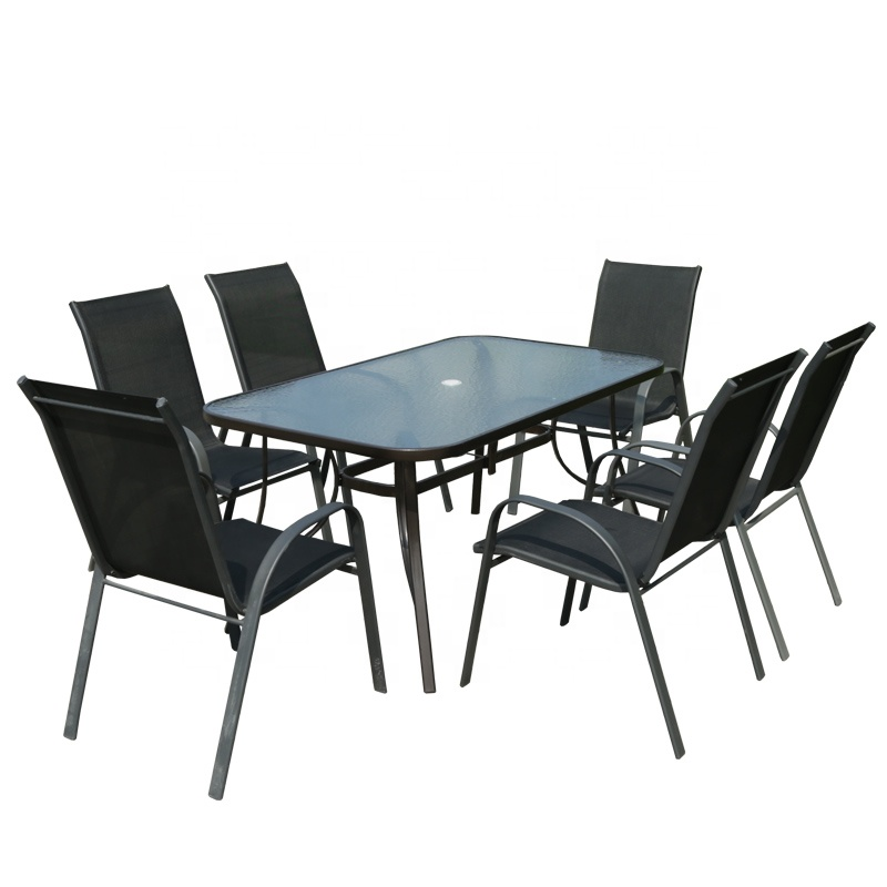 Factory Delivery Dining Chair Square Table 6Seater Waterproof Table Patio Outdoor Furniture 7Pcs Garden Set