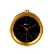 Golden outline of the bell with black dial wake up  alarm clock