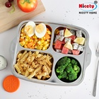 Logo Customization Tray Nicety Car Kids 304 Stainless Steel Food Breakfast Metal Serving Tray 4 Compartment Lunch Buffet Tray
